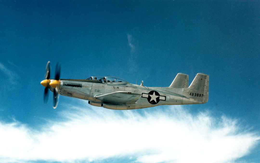 A color shot of the XP-82 back during its test flying days. (photo via Tom Reilly)