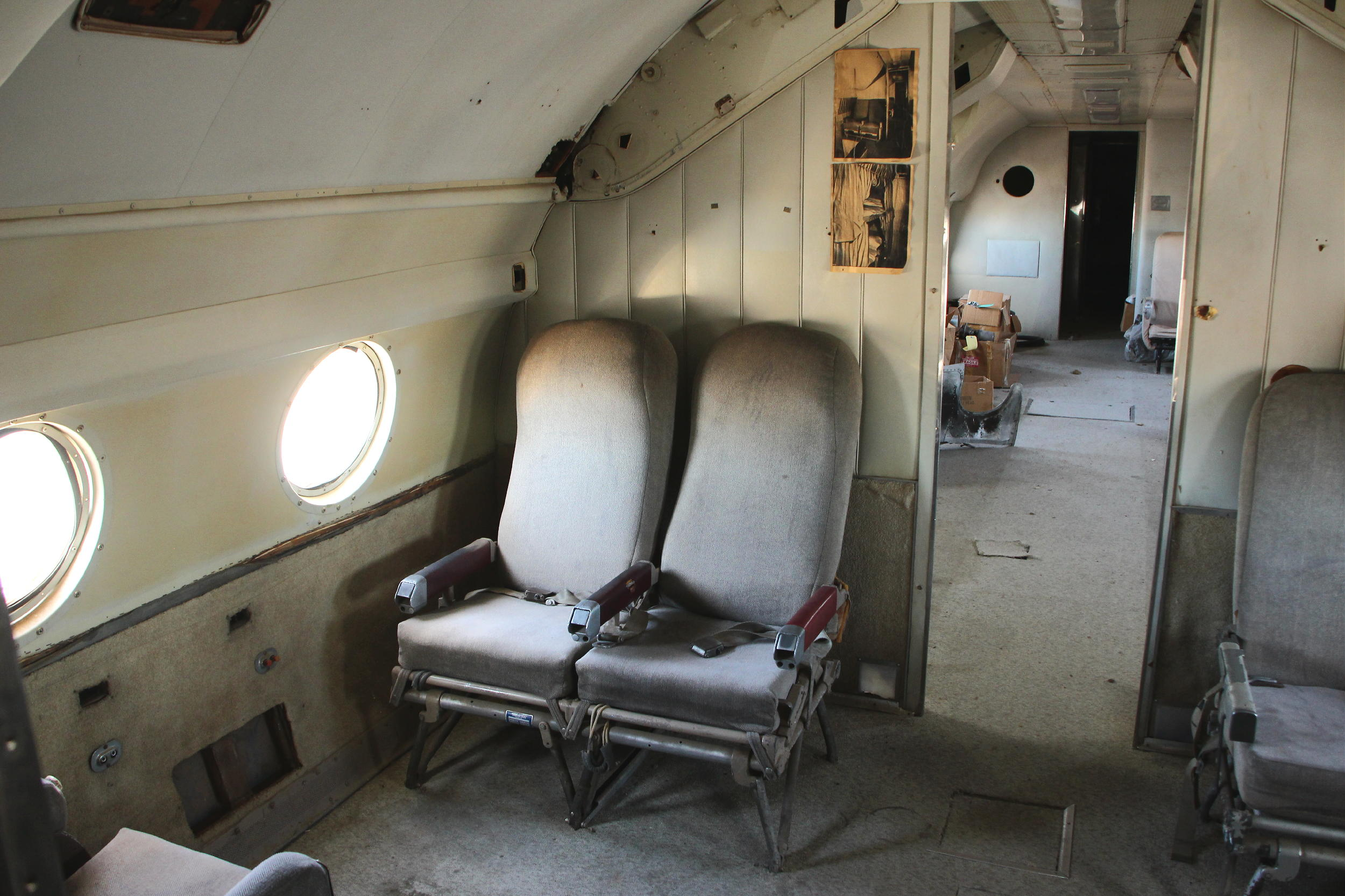 Some of the remaining original passenger seats aboard Columbine II. (Ken Stoltzfus photo)
