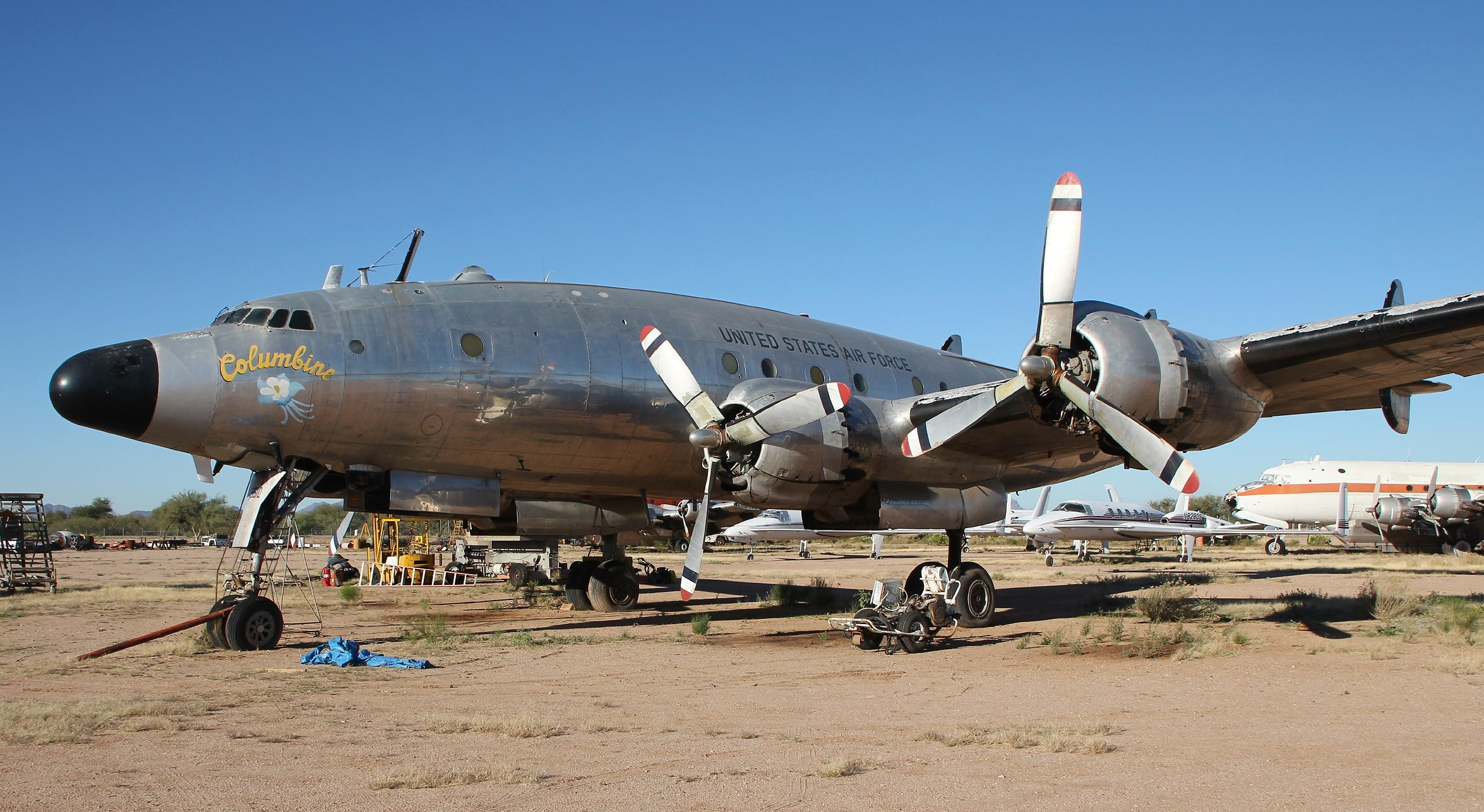 Columbine II at the Marana Air Park in Marana, Arizona in mid-November, 2014 when Ken Stoltzfus of Dynamic Aviation paid her a visit. (Ken Stoltzfus photo)