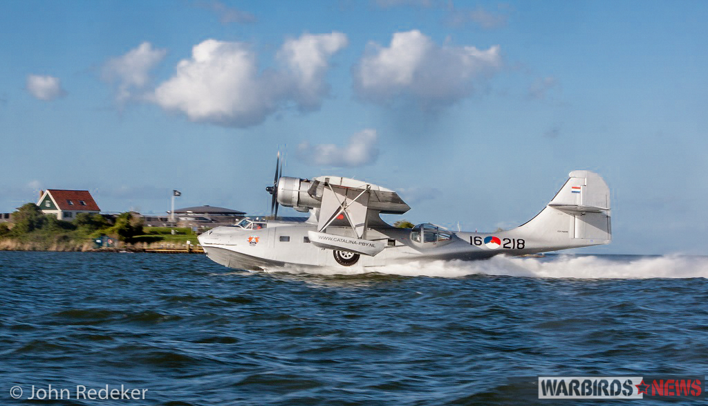 The Catalina on her takeoff run. (photo by John Redeker)