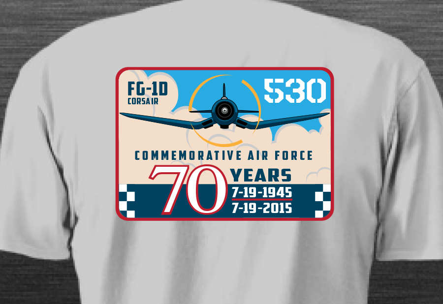 A closeup of the CAF FG-1D 70th Anniversary T-shirt.