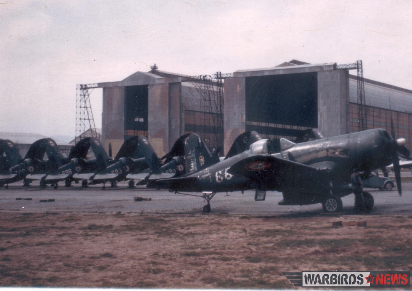 Tired Aeronavale F4U-7 Corsairs in storage in France. (photo via Stephen Chapis)