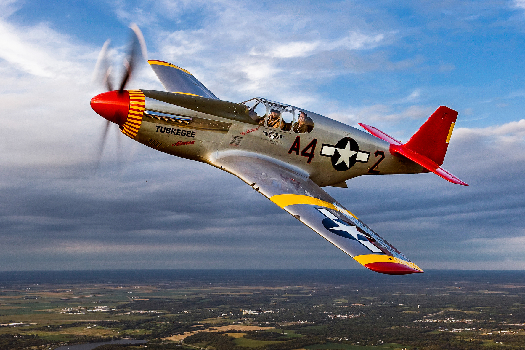 A magnificent shot of the CAF Red Tail Squadron's P-51C Mustang by the great aviation photographer, Max Haynes. (photo via CAF)