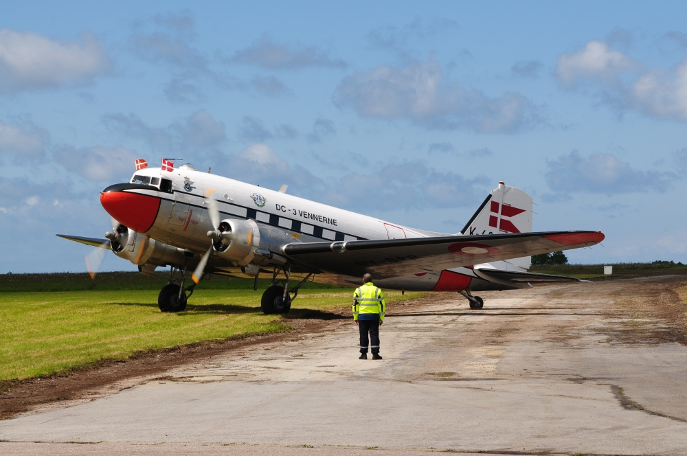 A Danish-based Dakota took part in the D-Day celebrations today. (photo by Geoff Jones)