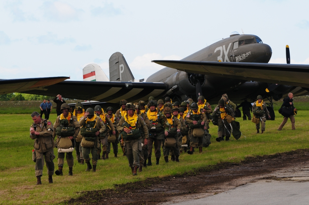 One of the Daks loading with WWII re-enactors for the parachute drops celebrating the D-Day anniversary in France. (photo by Geoff Jones)