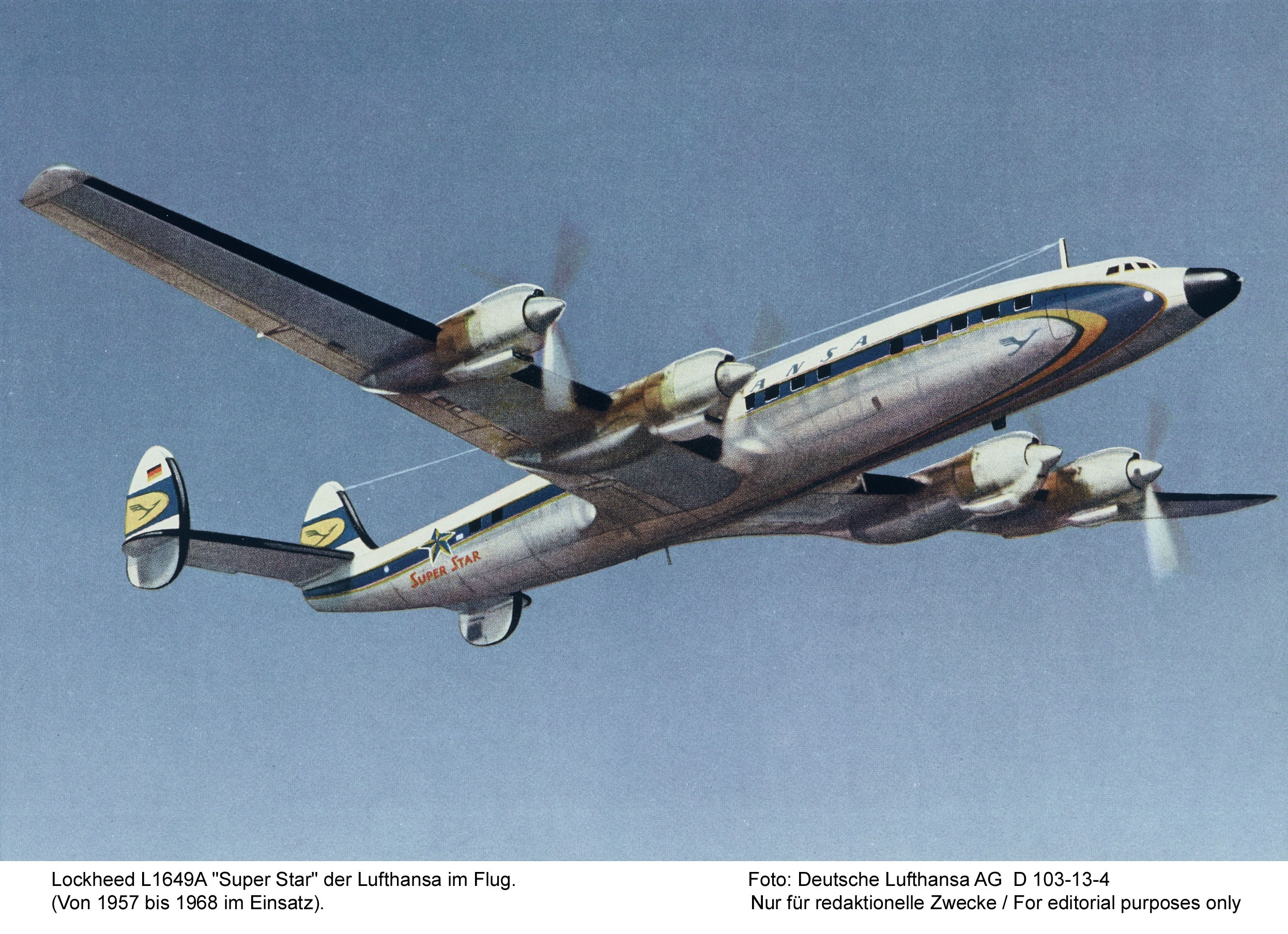 A vintage shot of a Lufthansa L-1649A Super Star in flight. (photo