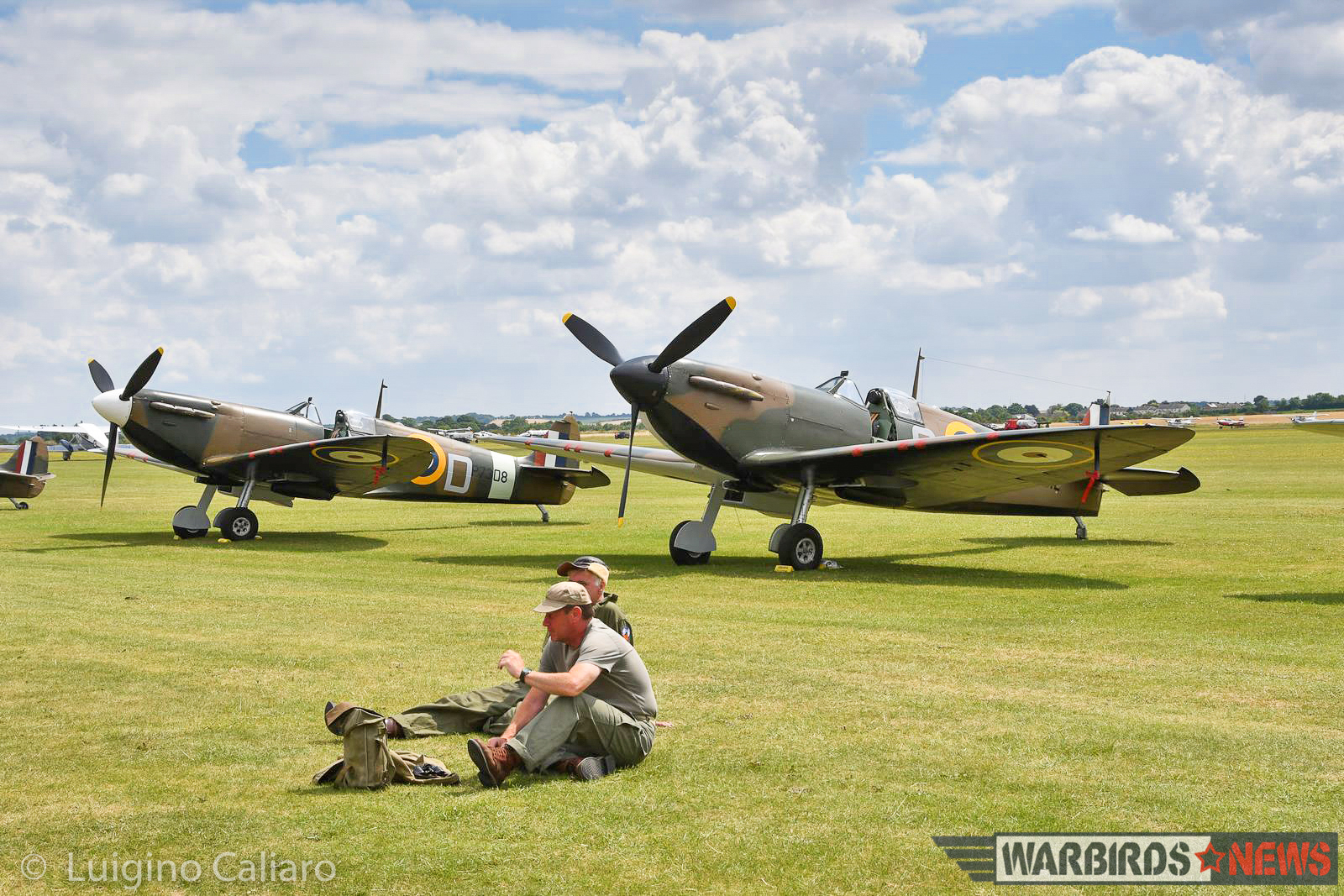 Two of the three Supermarine Spitfire Mk.Is on hand at Duxford. (photo by Luigino Caliaro)