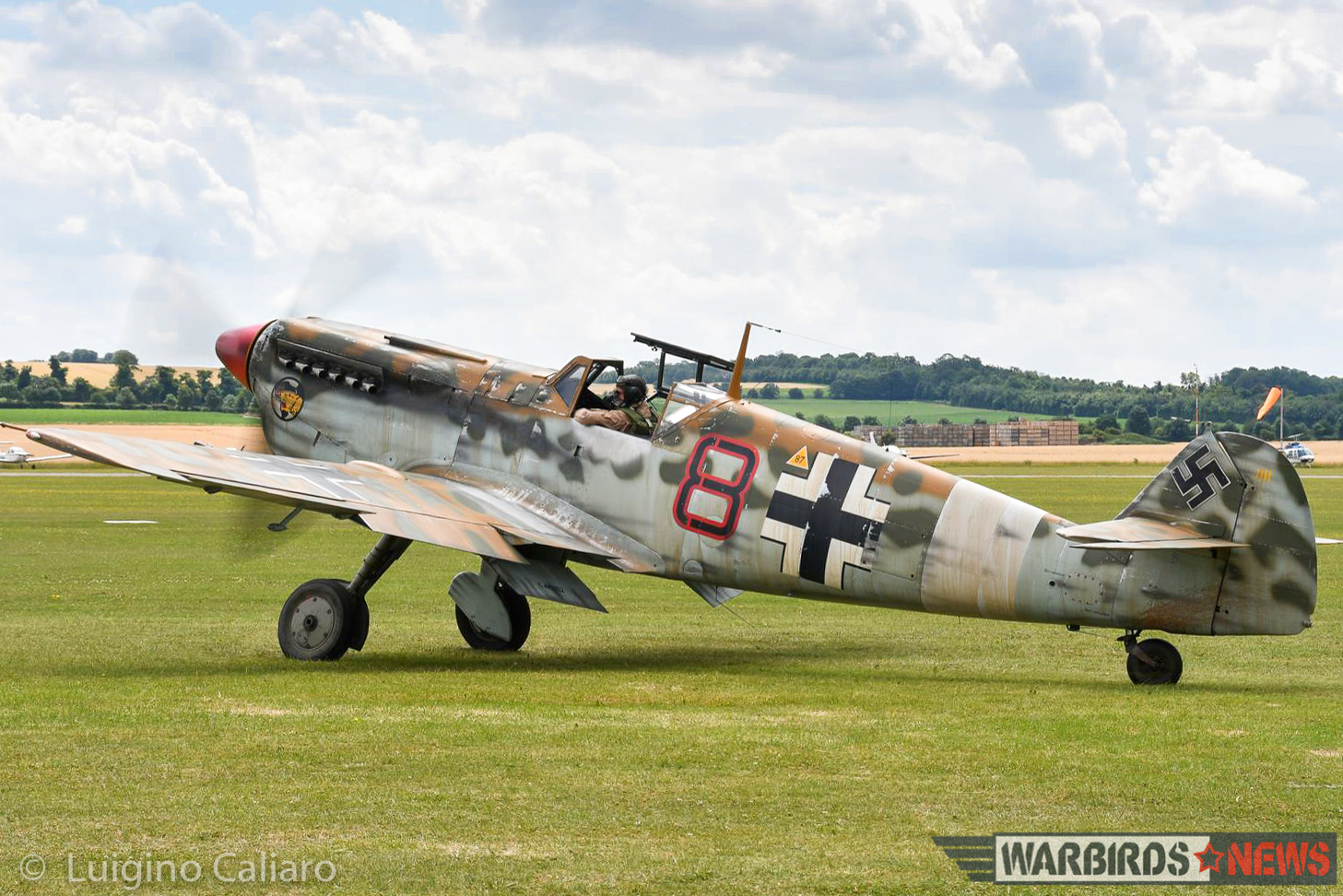 ARCo's Hispano Buchon mocked up in desert cammo as a JG27 Bf 109E. The paint is water soluble. (photo by Luigino Caliaro) (photo by Luigino Caliaro)