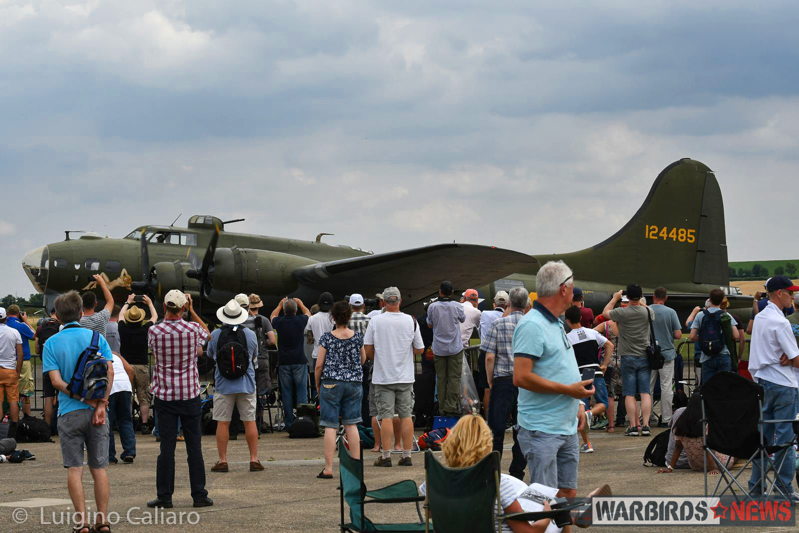 "One of two B-17Gs at Duxford, ""Sally-B"", flew during the display. The other, Mary Alice, is on static display inside the American Air Museum building. (photo by Luigino Caliaro)"