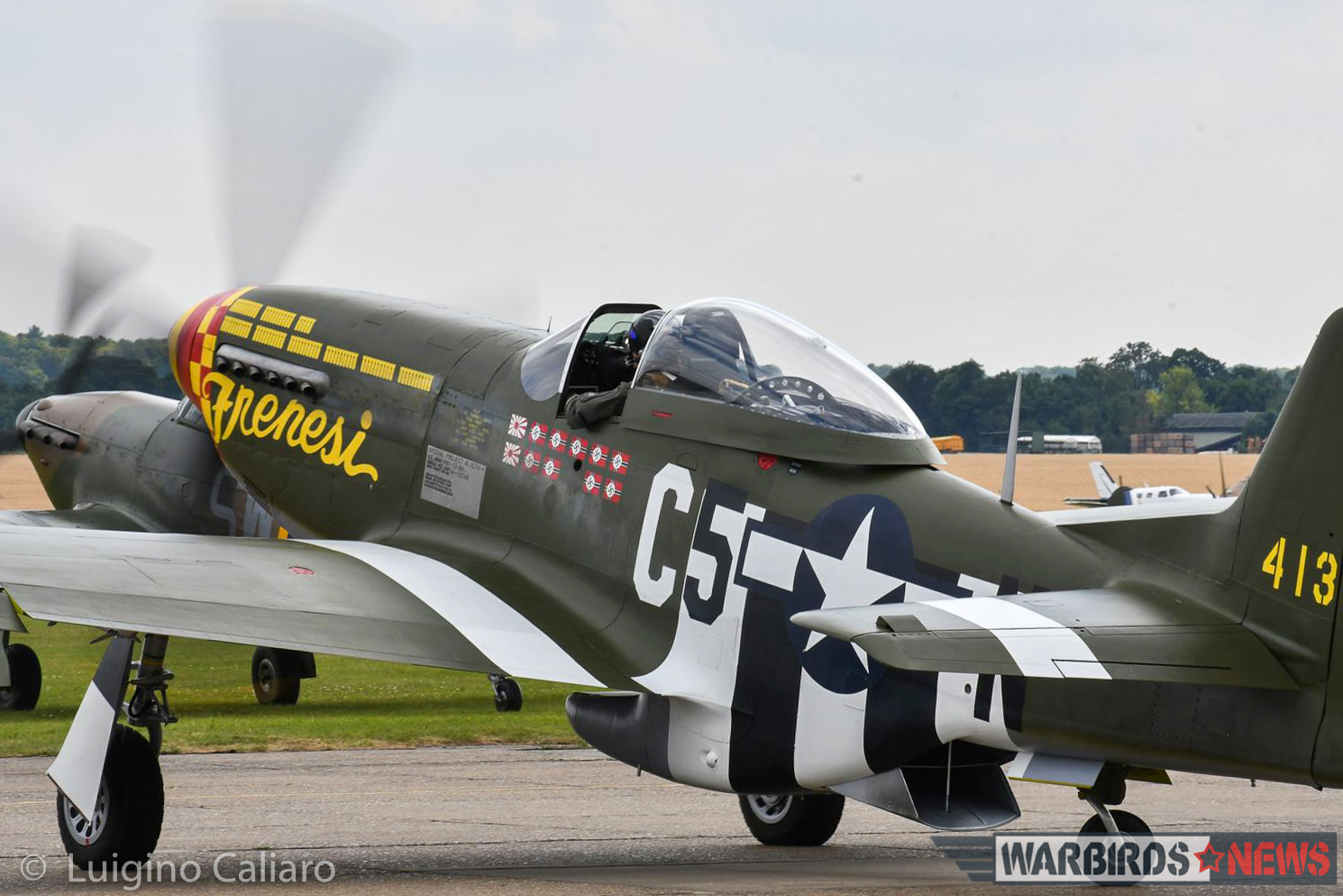 F-6K Mustang 'Frenesi' warming up for the Balbo. (photo by Luigino Caliaro)