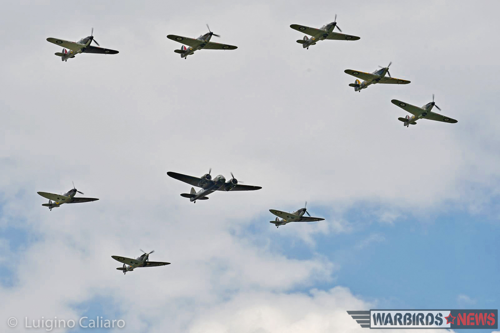 The Battle of Britain flypast, with FIVE Hawker Hurricanes, three Spitfire Mk.Is and a Blenheim Mk.I. A truly staggering sight unimaginable even just a few years ago. (photo by Luigino Caliaro)