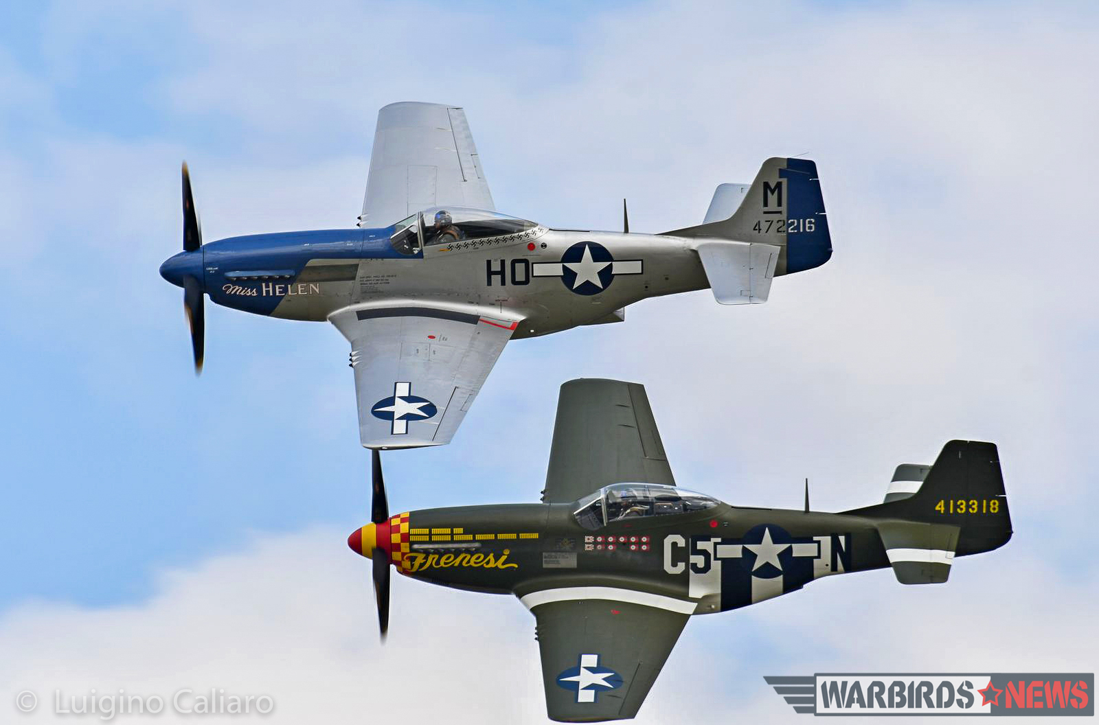 A magnificent closeup showing two of the many Mustangs at the show in tight formation. (photo by Luigino Caliaro)