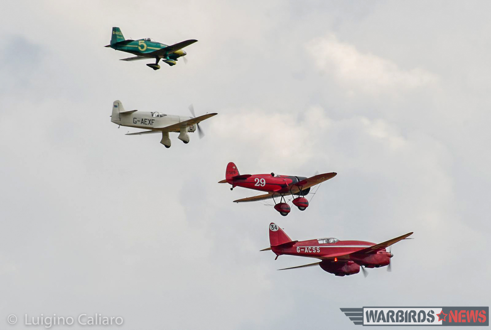 A gorgeous lineup of famous, between-the-wars air race planes. (photo by Luigino Caliaro)