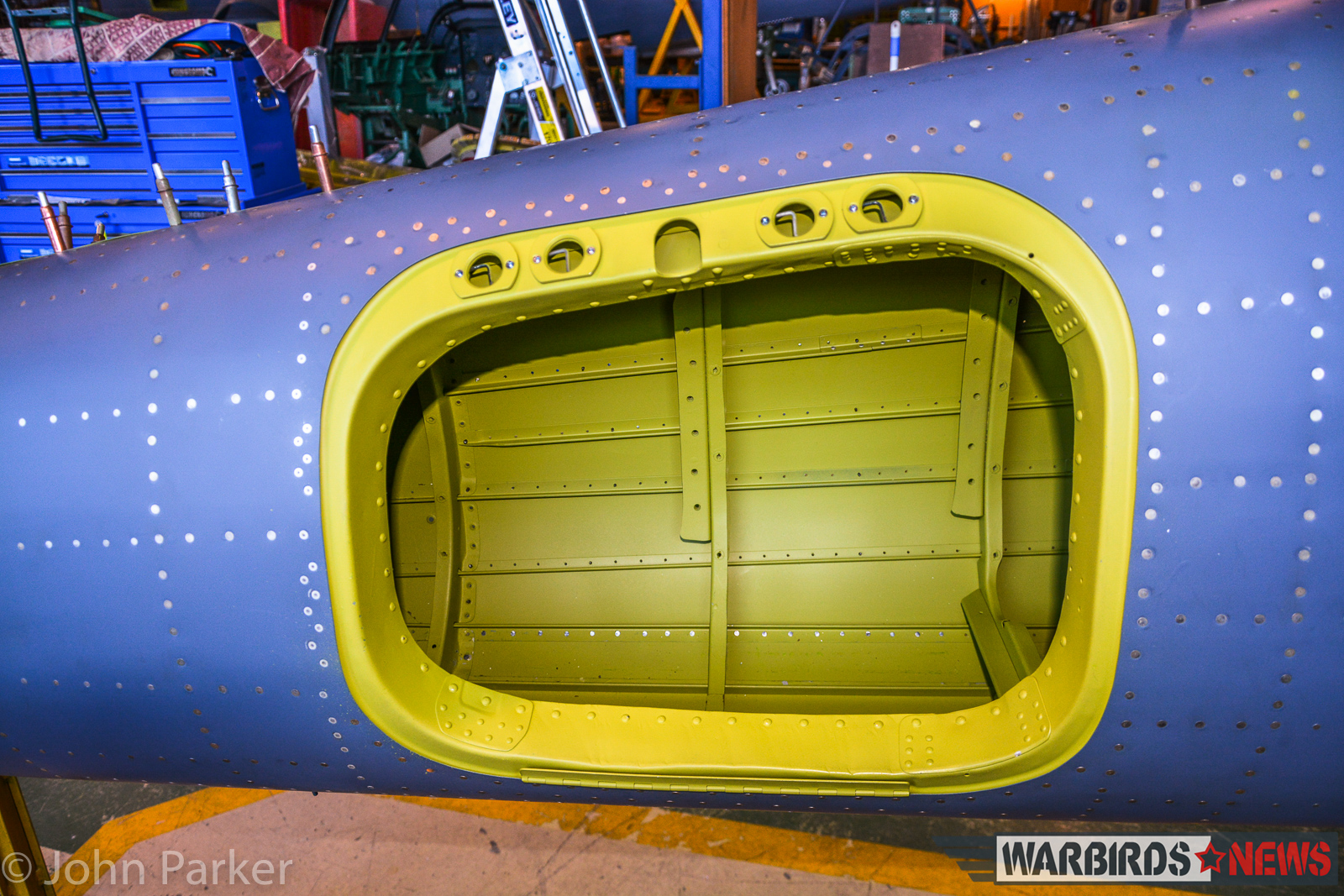 A close up of the radiator port on one of the reconstructed tail booms. (photo by John Parker)