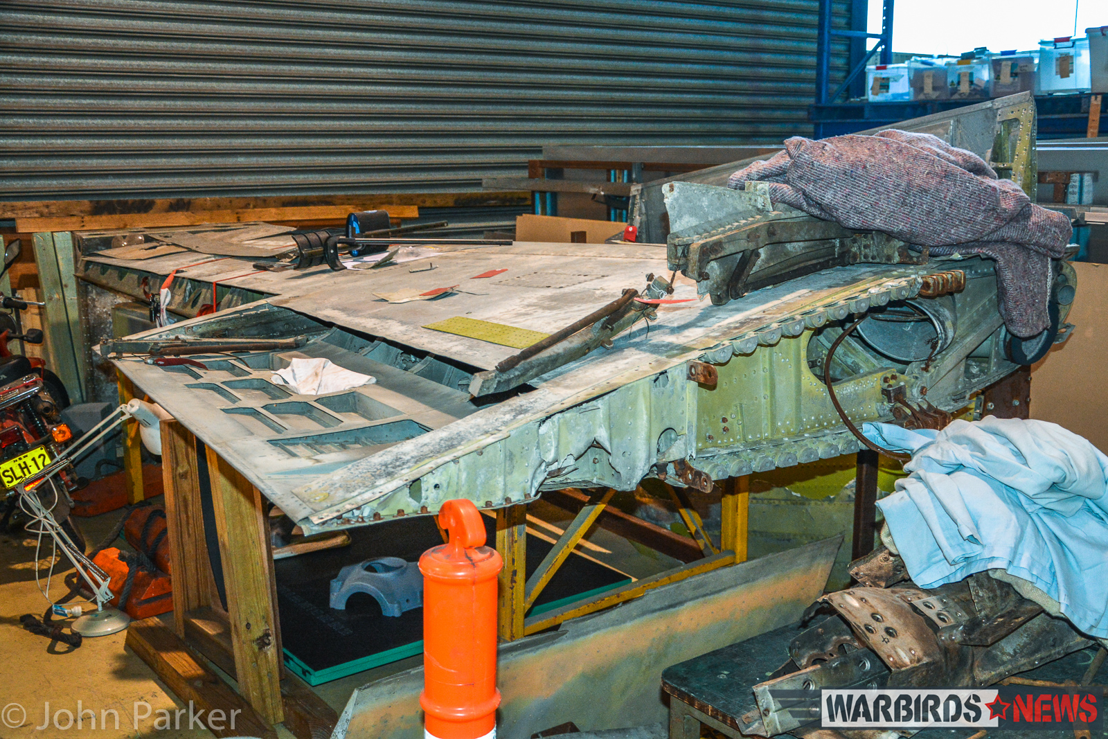 One of the Lightning outer wing panels awaiting restoration. (photo by John Parker)