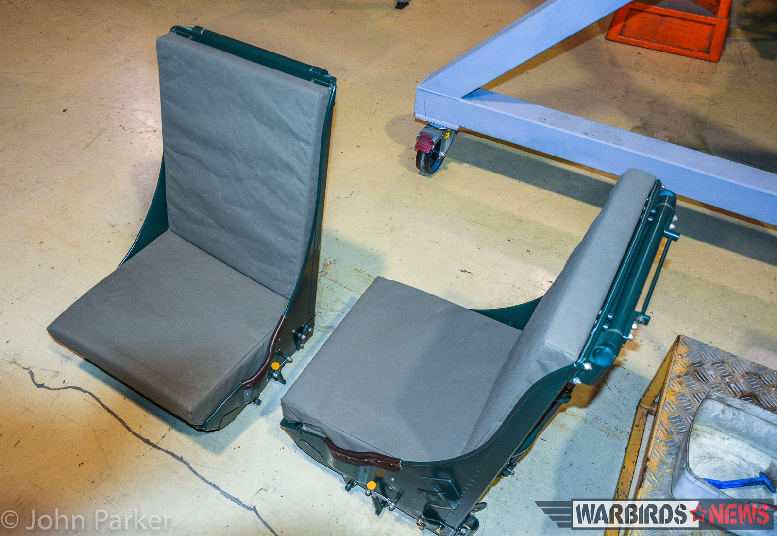 A pair of fully restored P-38 pilot's seats. (photo by John Parker)