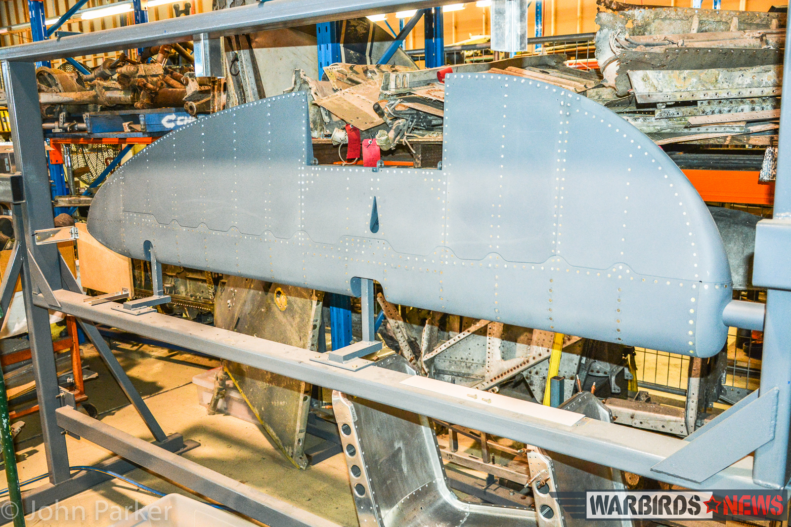 A Lightning rudder nearing completion in its jig. (photo by John Parker)