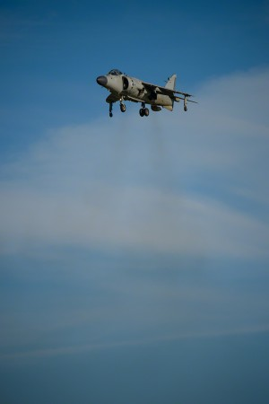 Moose Peterson captures the Sea Harrier hovering in front of the crowd during the 2013 EAA Airventure.