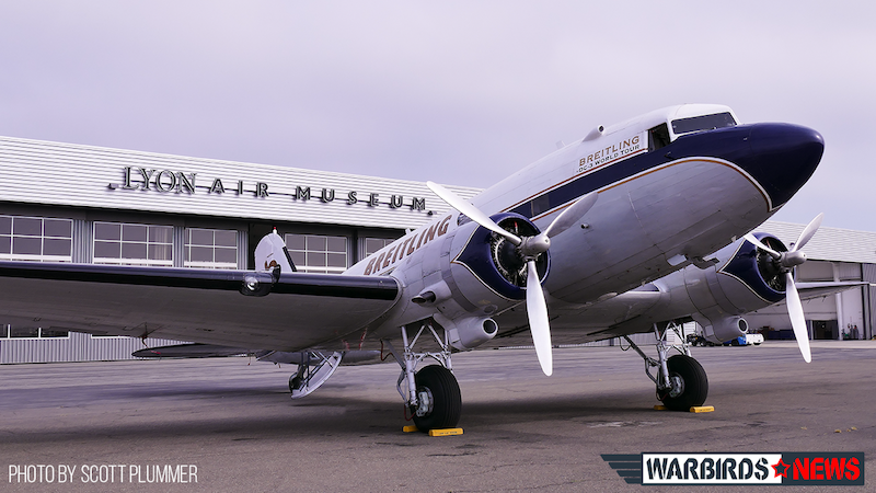 DC-3 On Ramp At Lyon Air Museum John Wayne Airport California copy