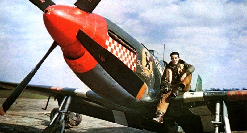 A famous wartime publicity shot of Don Gentile sitting on the wing of his P-51 Mustang 'Shangri-La' in a WWII publicity shot. (photo via Wikipedia)