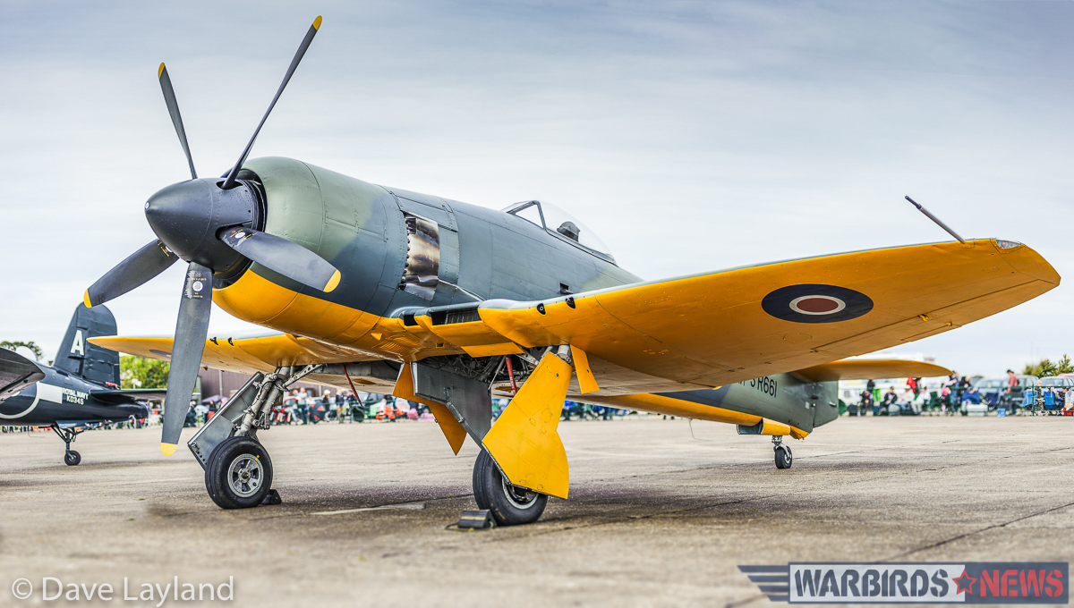 Air Leasing's Hawker Fury Mk II on the flightline. The aircraft is one of a batch which Hawker built for the Iraqi Air Force, but is now marked as the original Hawker Sea Fury prototype SR661. (photo by Dave Layland)