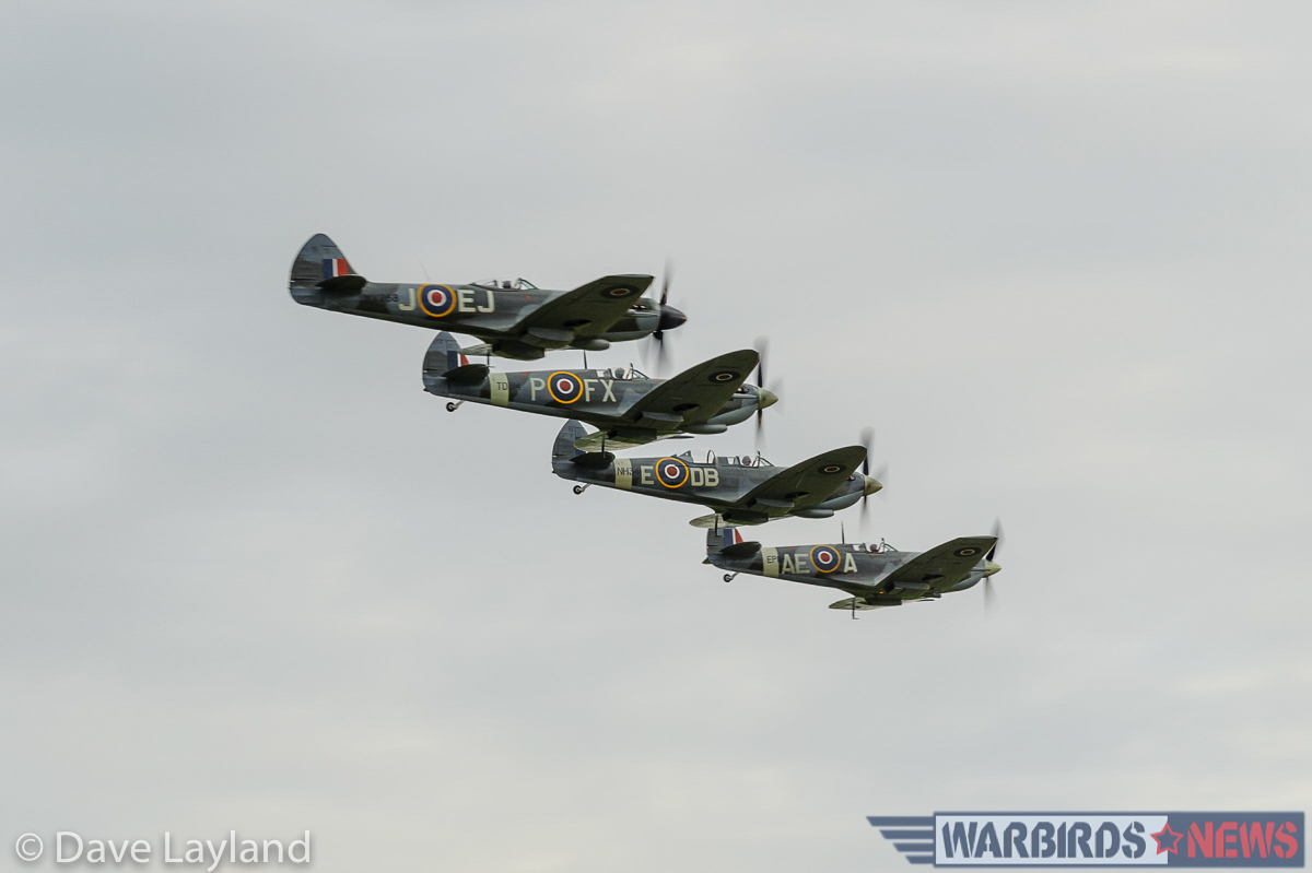 Four Spitfires in close formation. No less than thirteen Spitfires flew during the air show! (photo by Dave Layland)