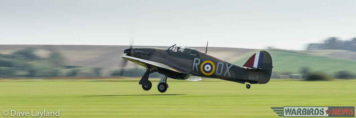 The Air Leasing Hurricane Mk.I landing after display. (photo by Dave Layland)