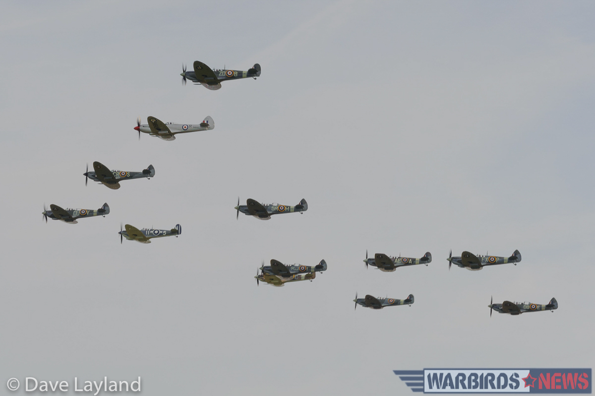 "Twelve Spitfires in formation during the ""Spitfire Balbo""! (photo by Dave Layland)"