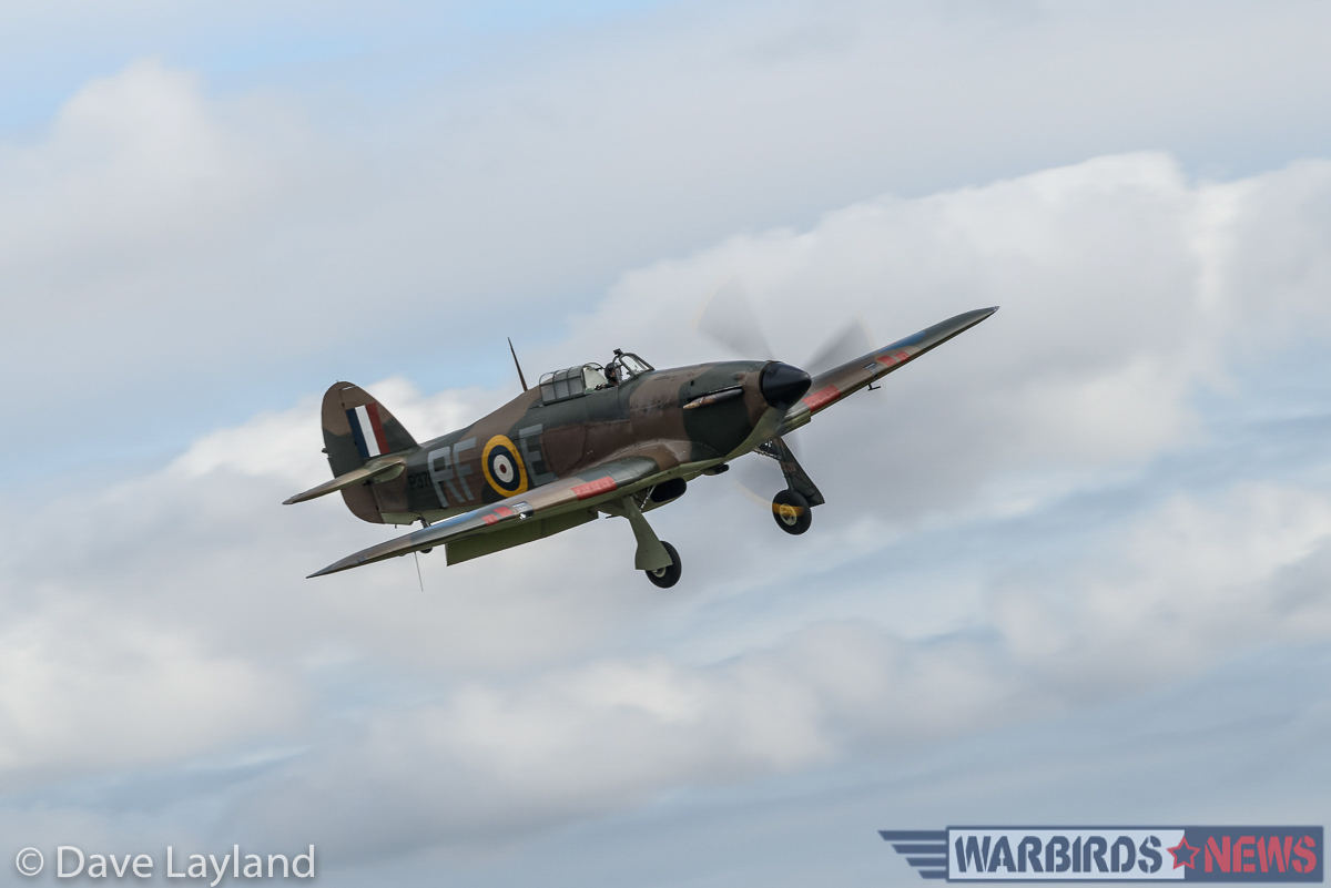 Hurricane P3700 of the Historic Aircraft Collection comes in to land. (photo by Dave Layland)