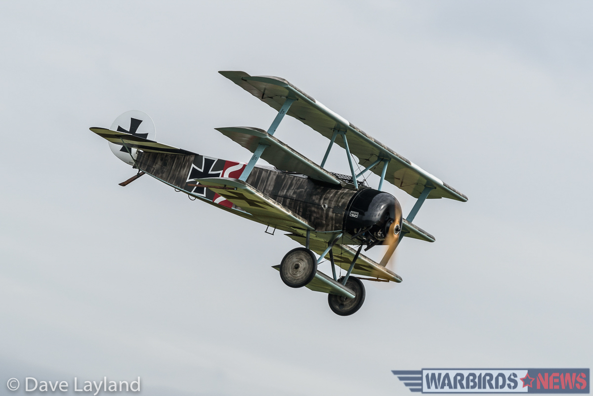 Great War Display Team's Fokker Dr.I approaching to land. (photo by Dave Layland)