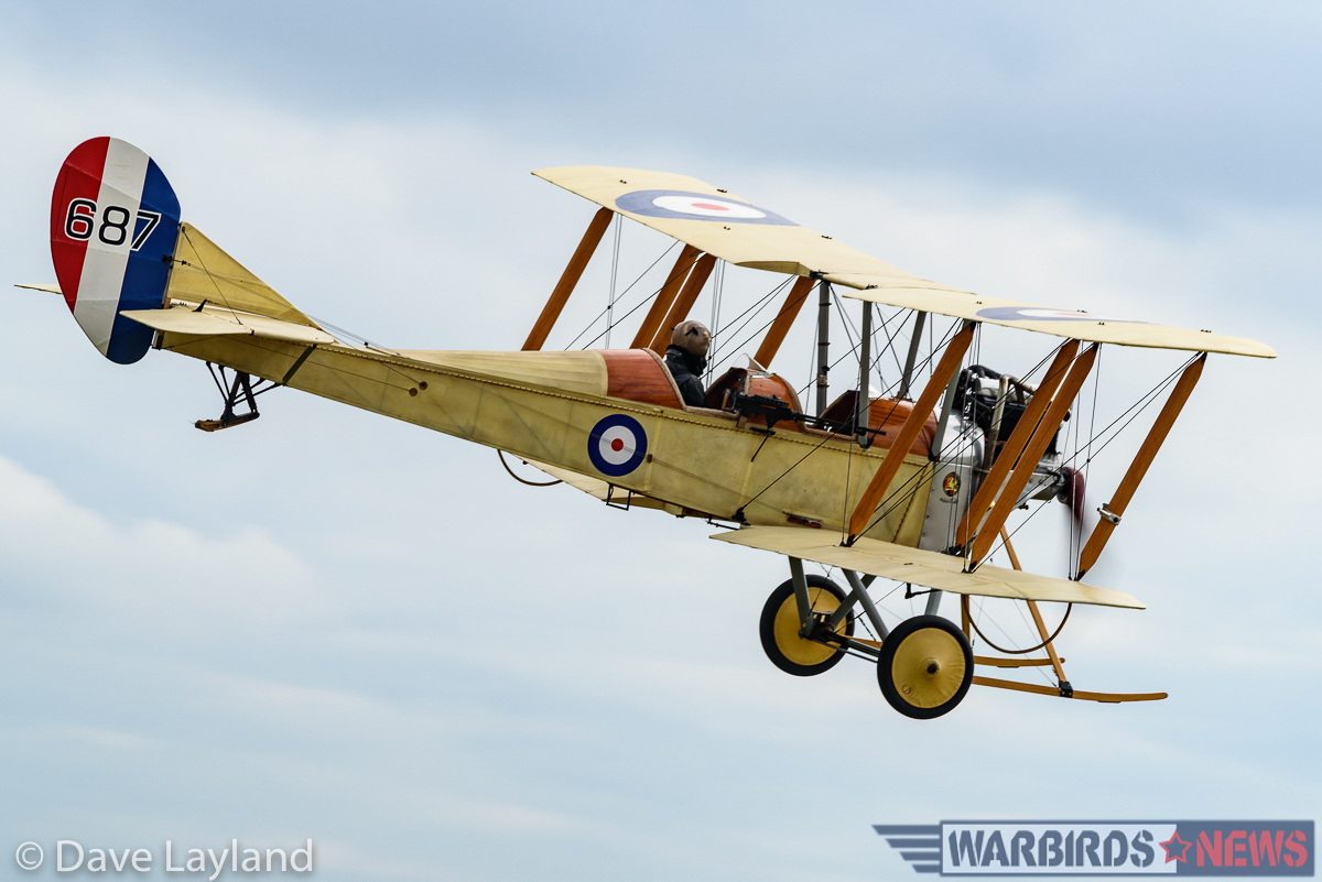 Great War Display Team's BE2c approaching to land. (photo by Dave Layland)
