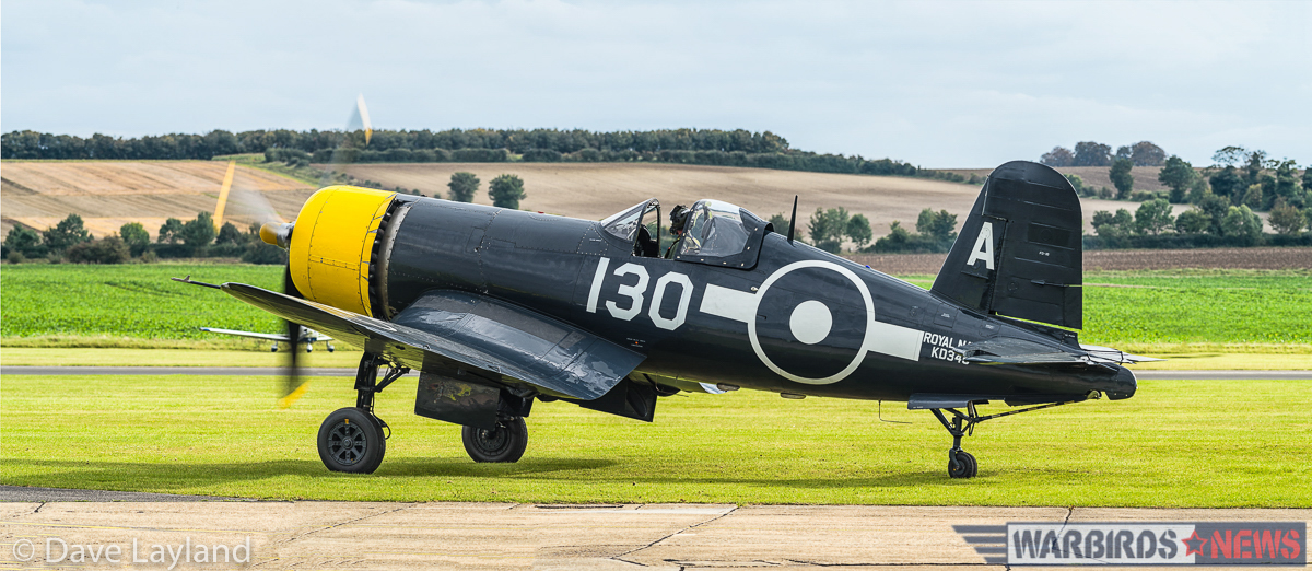 The Fighter Collections FG-1D Corsair taxies out for take off. The aircraft is marked to represent a Corsair IV of the Royal Navy's Fleet Air Arm. The real KD345 flew with 1850 Squadron aboard HMS Vengeance, though never saw combat. (photo by Dave Layland)