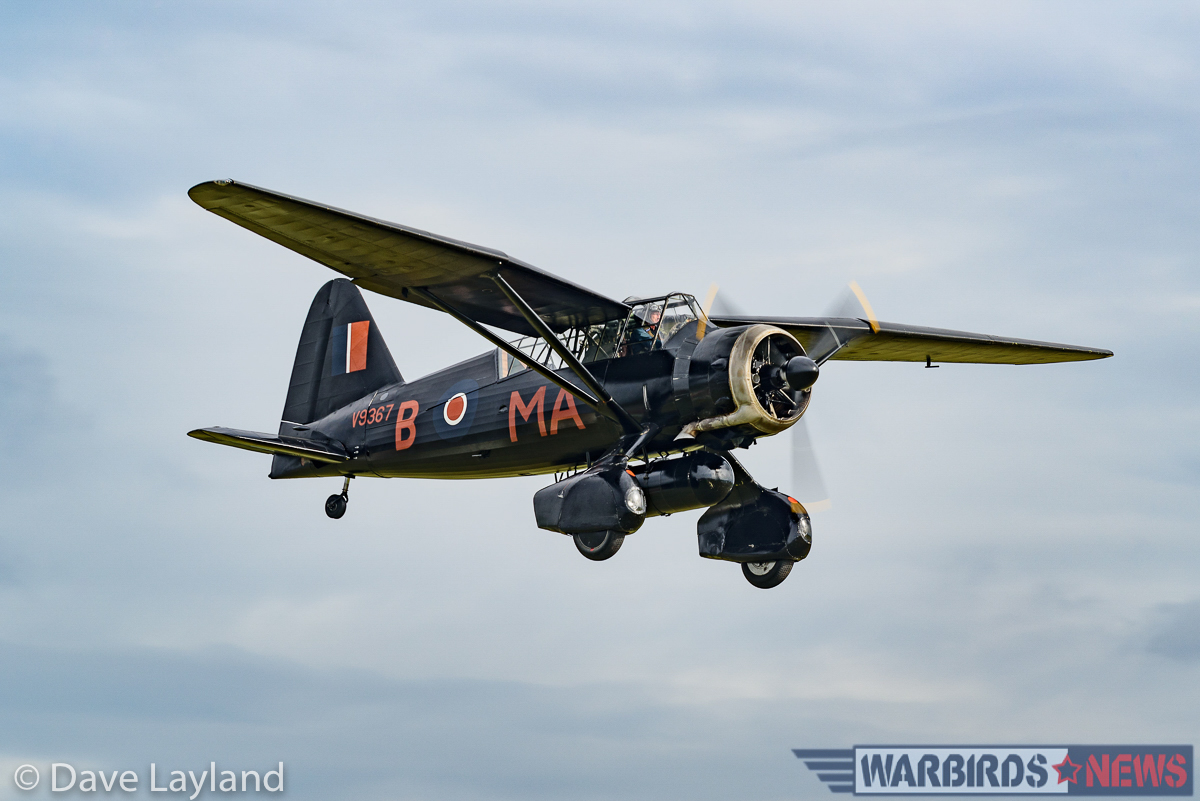 The Shuttleworth Collections Lysander on finals. (photo by Dave Layland)