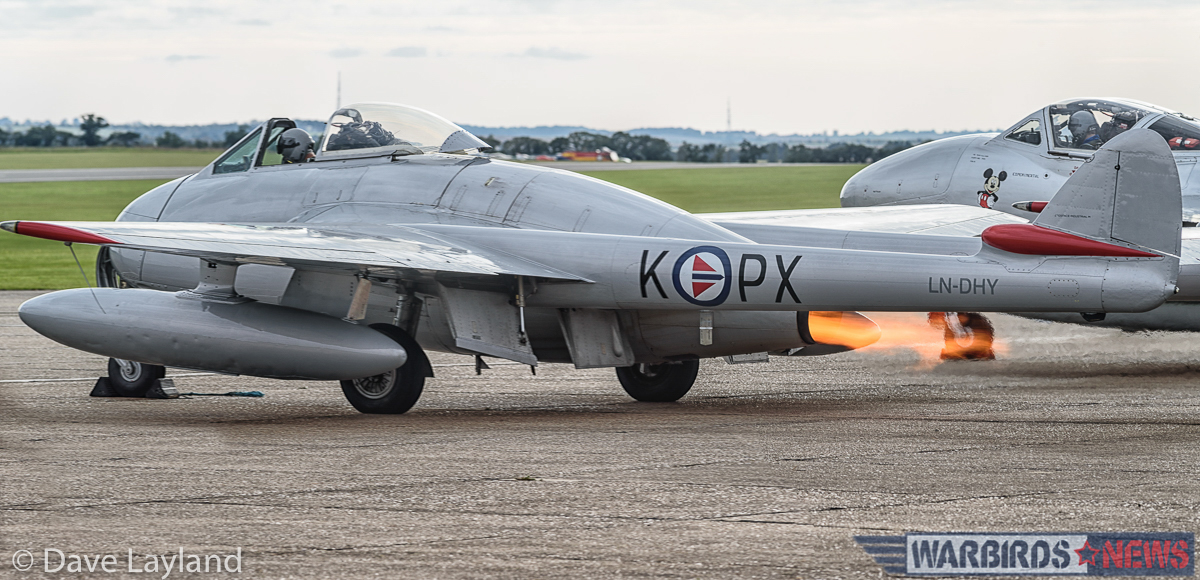 "A Vampire from the Norwegian Air Force Historical Squadron ""wet"" starts. (photo by Dave Layland)"