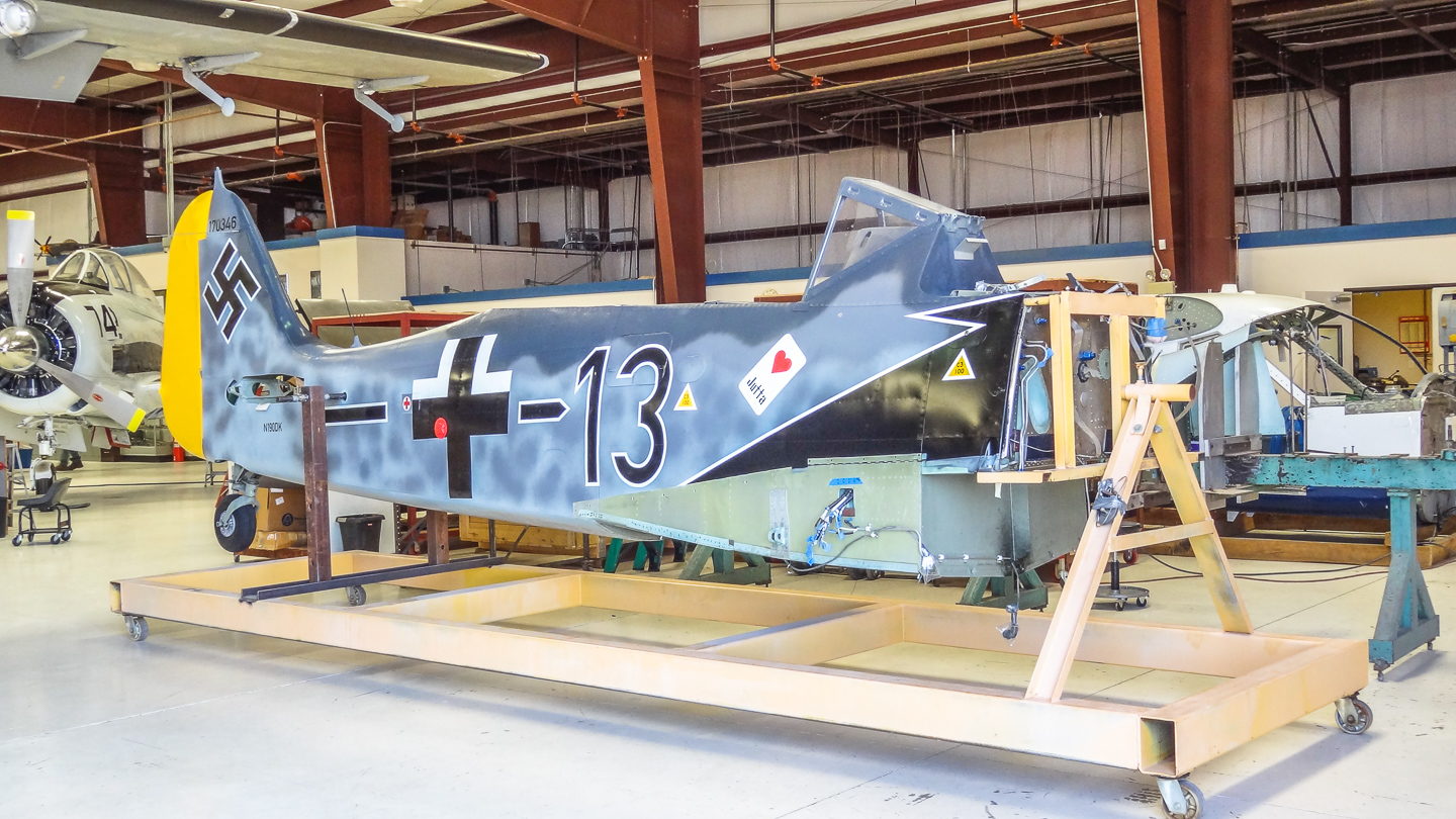 The fuselage, painted to represent the Fw-190 which 'Pips' Priller flew over the D-Day beaches on June 6th, 1944. Primer and his wingman were the only German fighter pilots to fly over the beaches that day... (photo via GossHawk Unlimited)