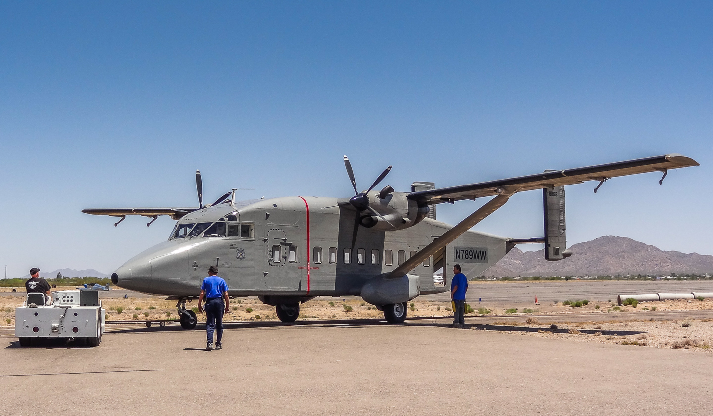 A Shorts C-23B Sherpa arriving in Casa Grande, Arizona for maintenance at GossHawk Unlimited. The aircraft are on the US civil registry, but used in Special Forces training. (photo via Lindsey Goss)