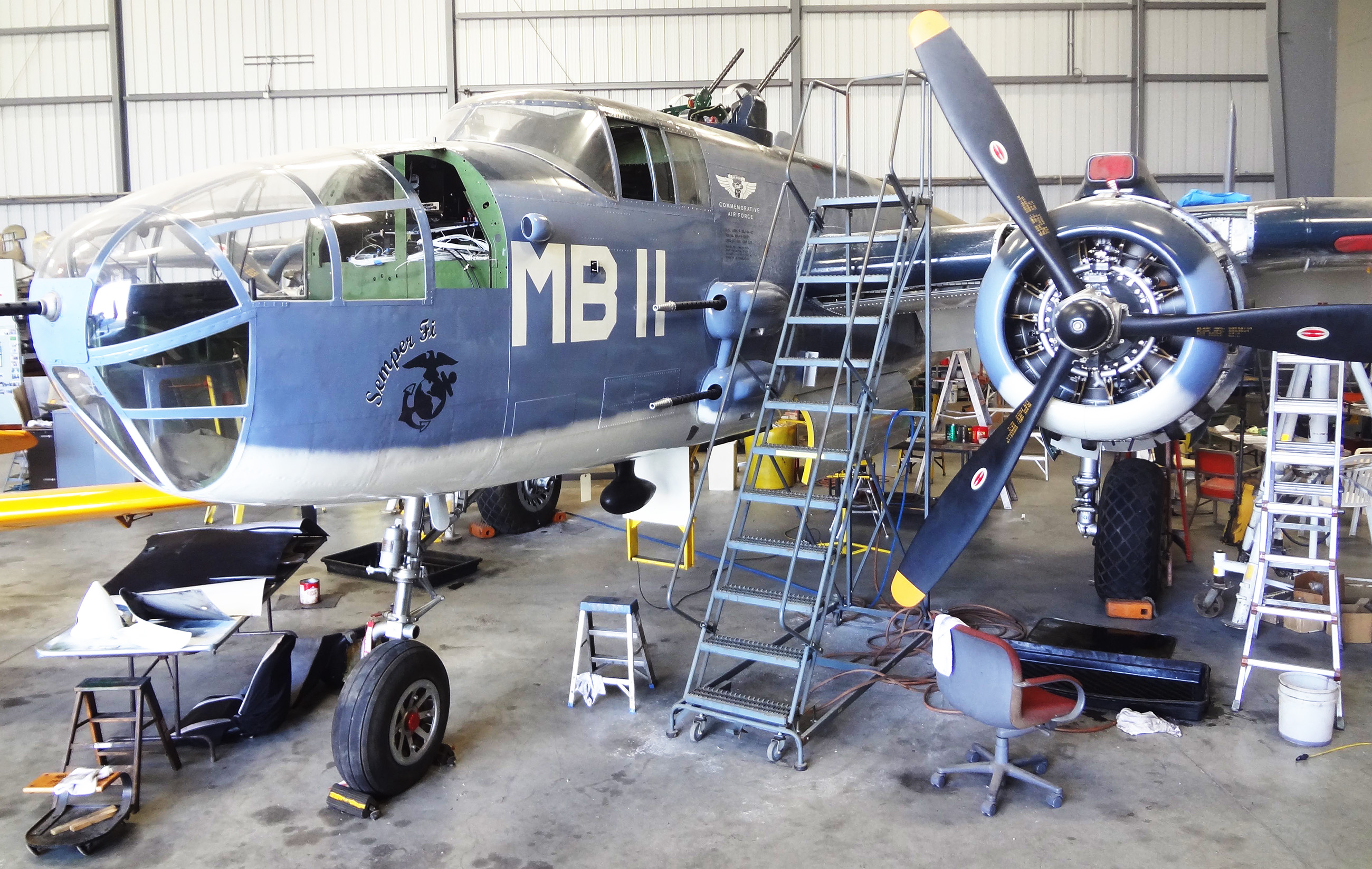 The PBJ sitting in the SoCal hangar awaiting the final infusion of cash to finish her restoration. Feb.2015 - Moreno Aguiari.