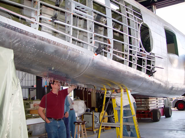 Re-skinning the rear fuselage. (photo by Dan Newcomb)
