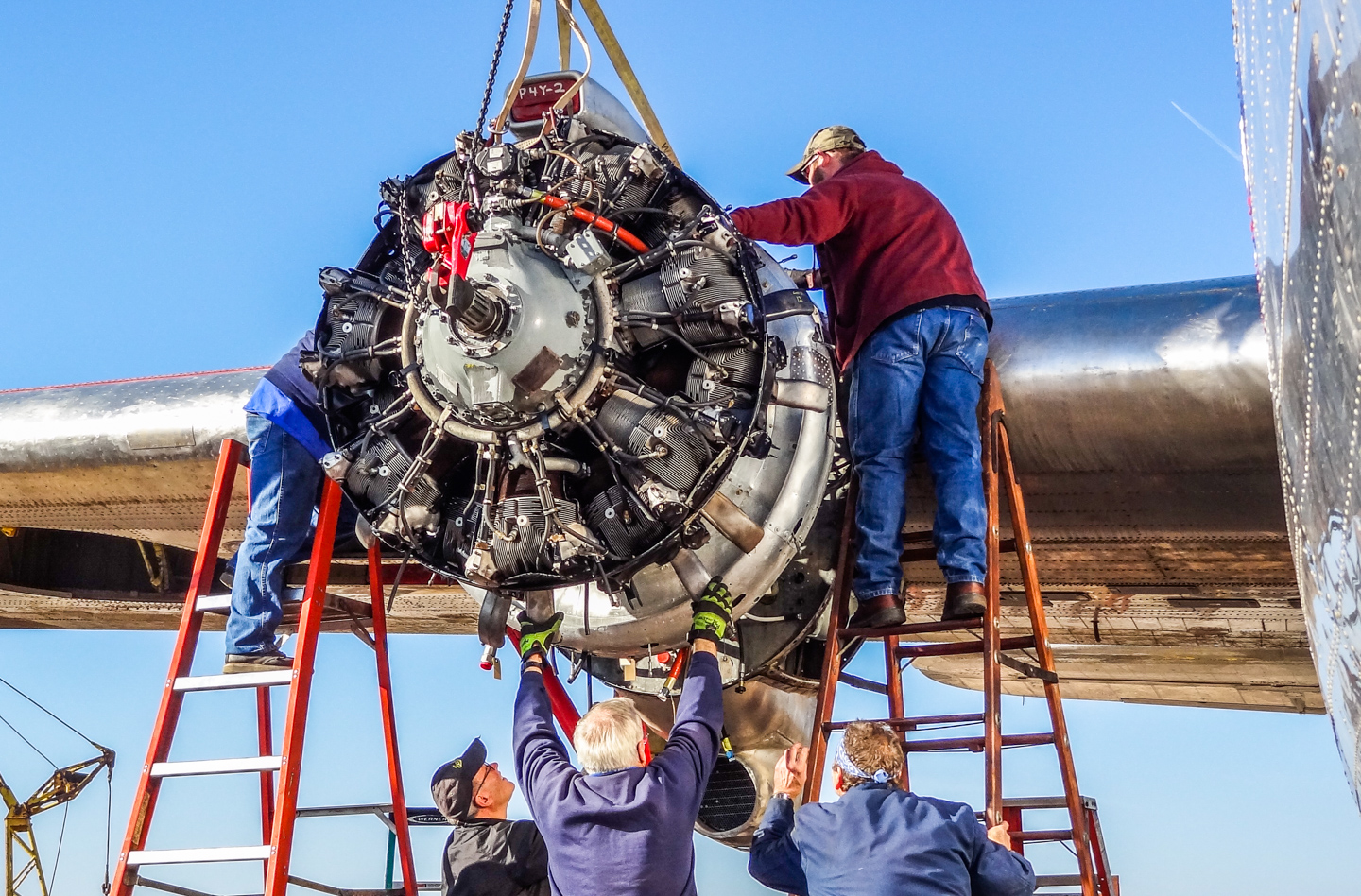 Installing the #3 engine. (GossHawk Unlimited photo)