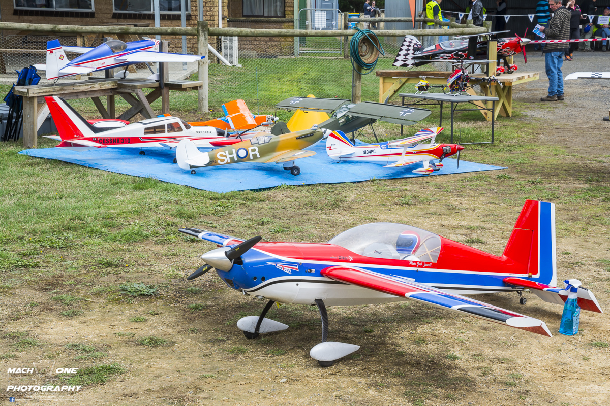 Several of the RC models on display.