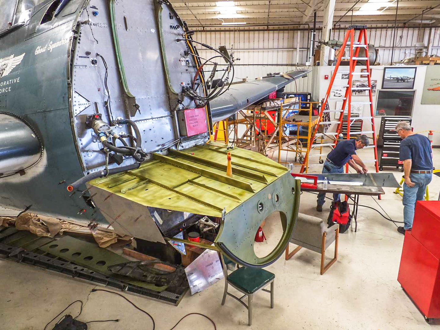 Another view of the repairs to the lower forward fuselage and firewall. (photo via CAF)