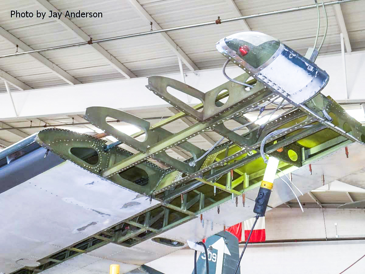 Repairs to the left wing tip are continuing, following the rebuild of damaged internal components. (photo by Jay Anderson)