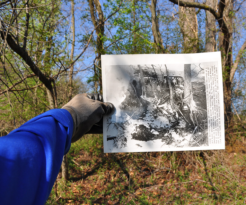 Then and Now - Looking at the crash report photo and comparing it to the present landscape. (photo by David Cohen)