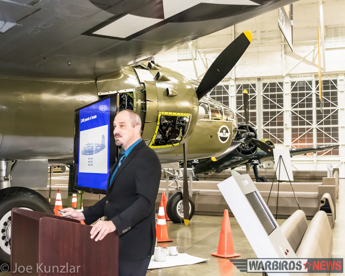Cory Graff, FHC Curator presenting his lecture on the B-25 in front of the museum's example. (photo by Joe Kunslar)