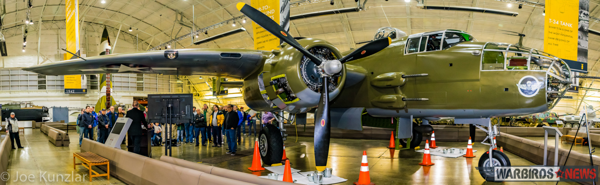 A panoramic shot of FHC's B-25 inside one of the museum's hangars. (photo by Joe Kunzlar)