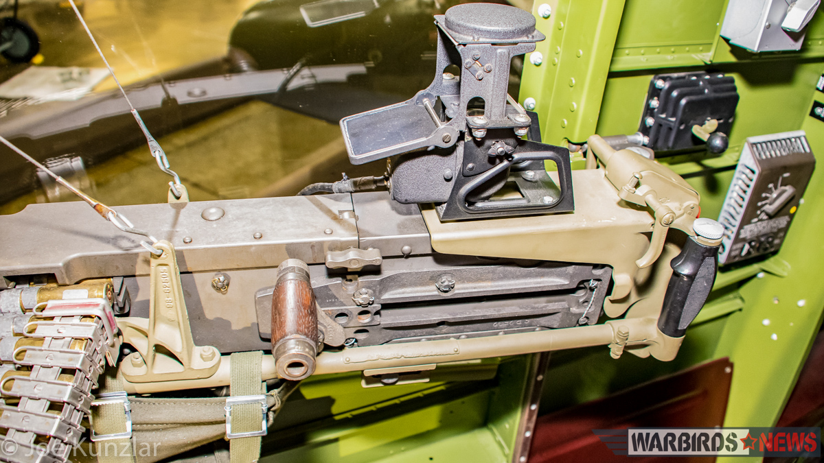One of the rear fuselage side machine guns, complete with its gunsight. (photo by Joe Kunzlar)