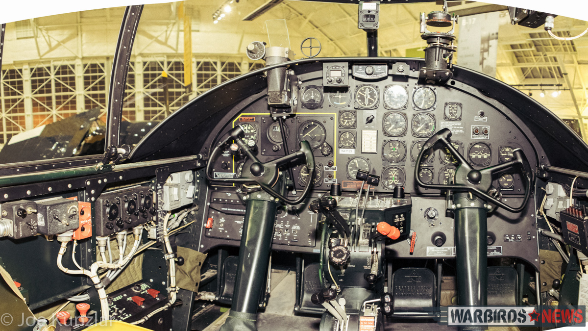 The B-25's cockpit is in extremely stock condition, barring some concealed radios, it appears nearly exactly as it would have done when it rolled off the production line at the end of WWII. (photo by Joe Kunslar)