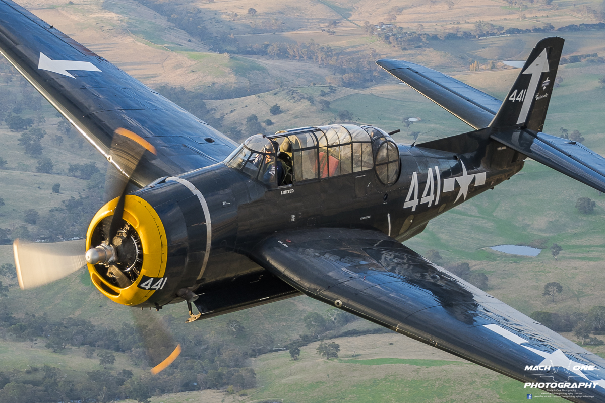 Air to air with Paul Bennet's TBM Avenger at Kyneton