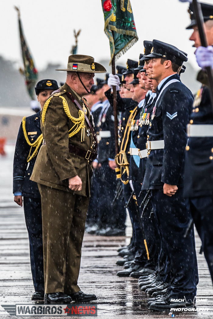 His Excellency General the Honourable Sir Peter Cosgrove AK, MC (Ret'd), Governor-General of the Commonwealth of Australia, talking to an airman from 3 Squadron while inspecting the parade. (Photo by Matt Savage/Mach One Photography)