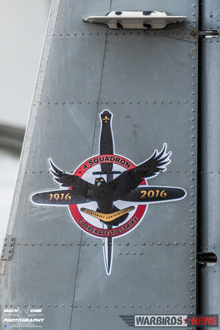 Centenary Markings on the vertical tail of a 4 Squadron Pilatus PC-9. (Photo by Matt Savage/Mach One Photography)